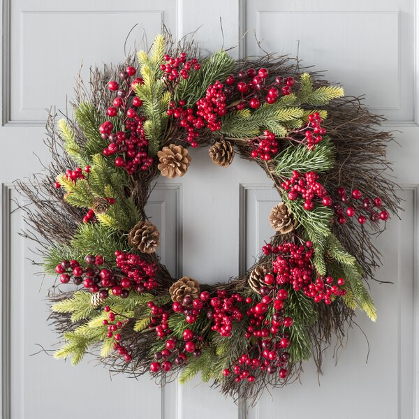 Mixed Pine Berry Cone 25 Wreath by The Holiday Aisle
