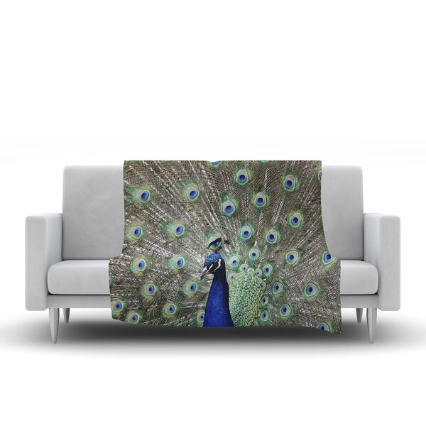 Peacock of Stunning Features by Qing Ji Fleece Blanket by East Urban Home