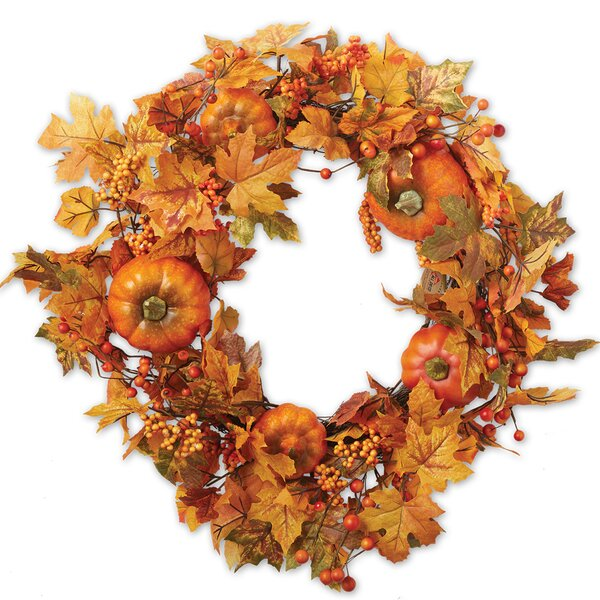 Fall Leaves and Pumpkin 22 Wreath by The Holiday Aisle