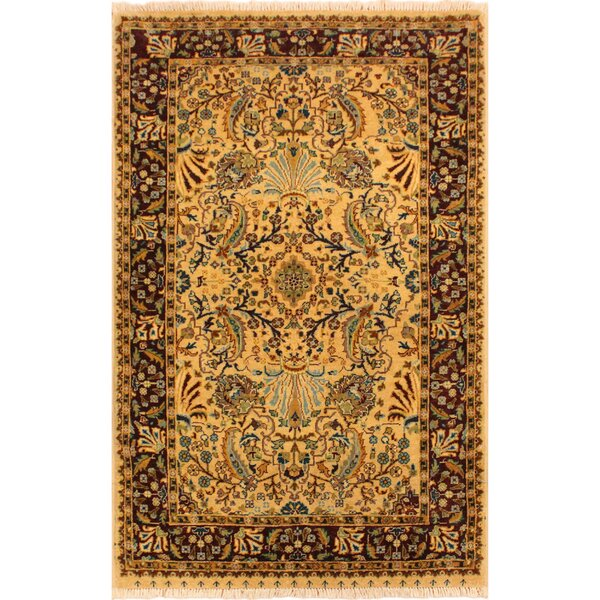One-of-a-Kind Ernesto Turkish Hand-Knotted Wool Tan/Red Area Rug by Bloomsbury Market