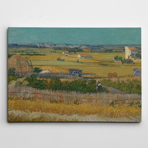 'A Harvest Landscape with Blue Cart' by Vincent Van Gogh Painting Print on Canvas by Wexford Home