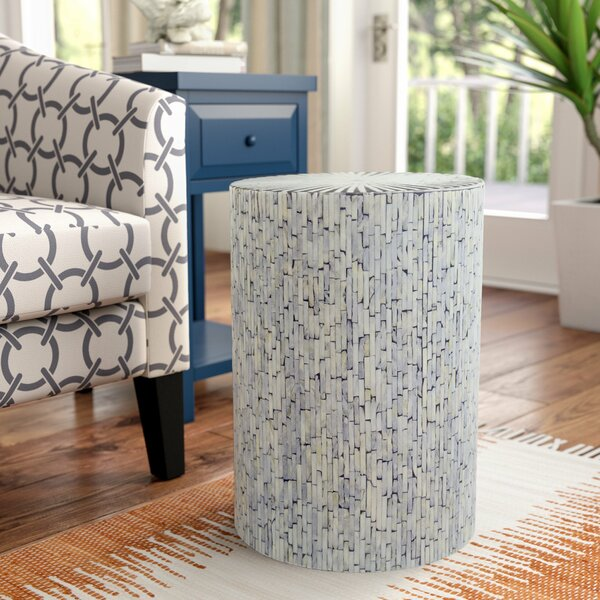Borger Mosaic Wood Inlay Stool by Beachcrest Home