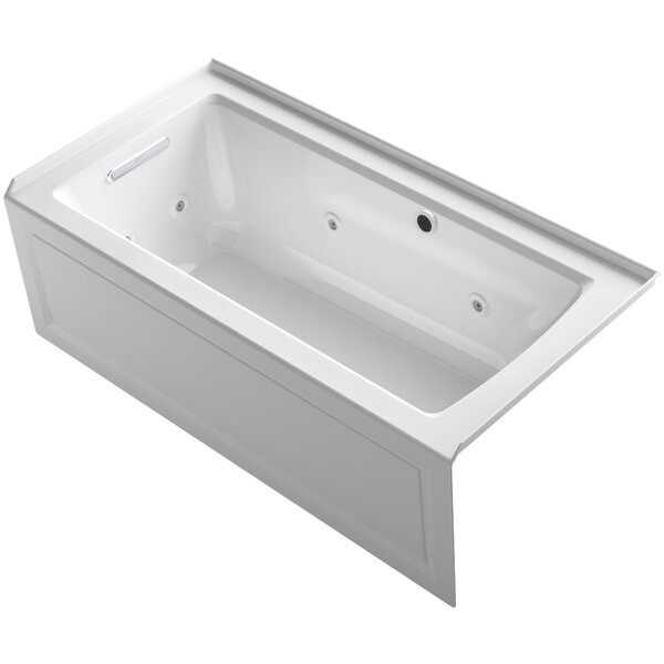 Archer Alcove Whirlpool Bath with Bask Heated Surface, Integral Apron, Tile Flange and Left-Hand Drain by Kohler