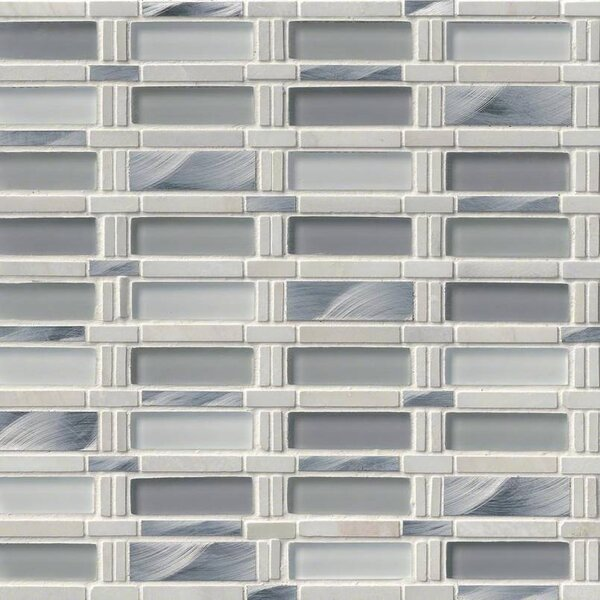 Icelandic Blend Pattern Glass/Stone/Metal Mosaic Tile in White by MSI