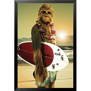 'Star Wars Chewbacca with Surfboard' Framed Graphic Art by Buy Art For Less