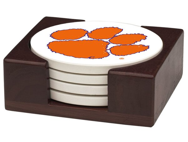 5 Piece Clemson University Wood Collegiate Coaster Gift Set by Thirstystone