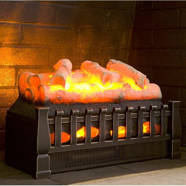 Infrared Electric Fireplace Log Set with Birch Logs by Plow & Hearth