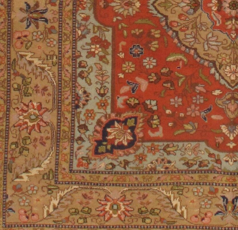 Pasargad Ny Persian Hand Knotted Wool Light Blue Ivory: Pasargad NY Persian Taba Tabriz Hand Knotted Wool Orange
