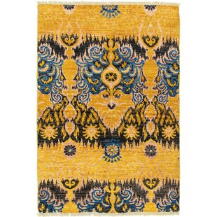 Read Reviews One-of-a-Kind Dolphin Hand-Knotted 4' x 5'10 Wool Gold/Black Area Rug By Isabelline