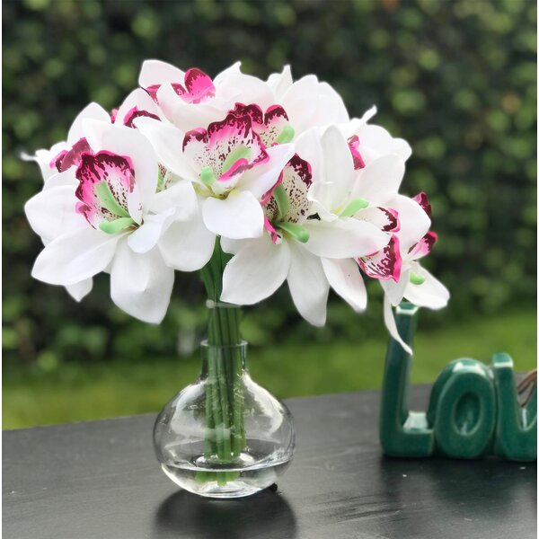 Artificial Orchids Floral Arrangement in Vase by Bay Isle Home
