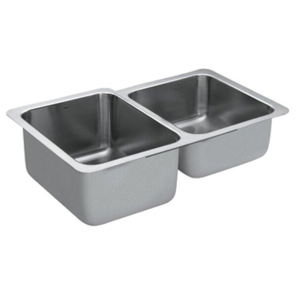 1800 Series 32 L x 20.66 W Double Bowl Kitchen Sink by Moen