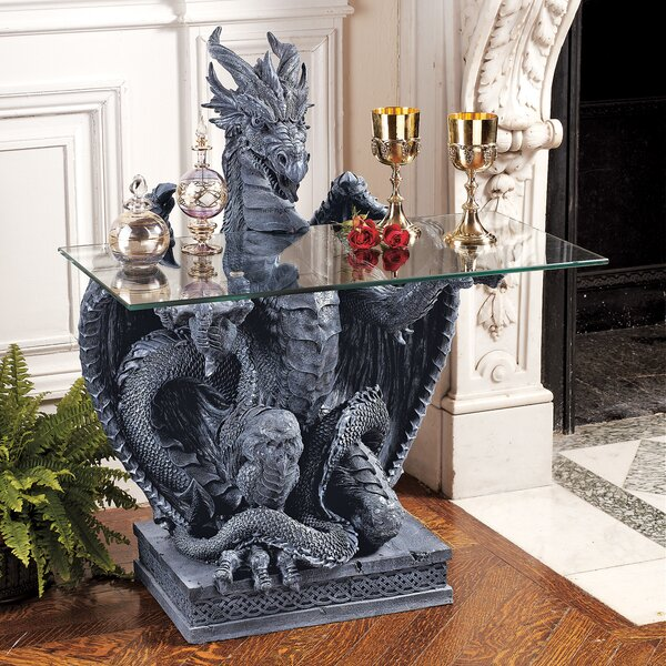 The Subservient Dragon Glass Topped Sculptural Console Table By Design Toscano
