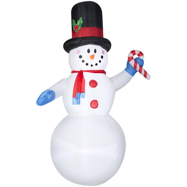 Snowman with Scarf and Candy Cane Christmas Oversi