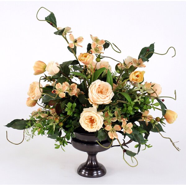 Champagne Mix of Silk Roses, Tulips and Dogwood with Foliage in Compote Urn by Distinctive Designs