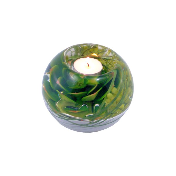 Succulents Glass Tealight by Bloomsbury Market