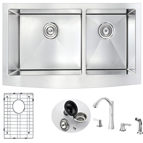 Elysian 35.88 x 20.75 Double Basin  Farmhouse Kitchen Sink with Faucet by ANZZI
