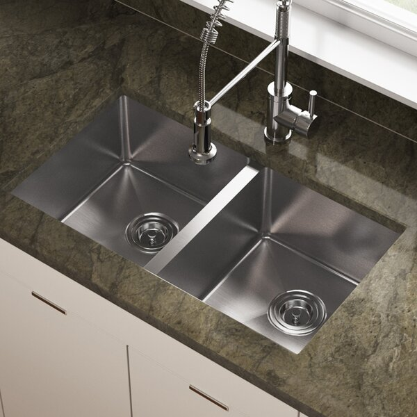 Stainless Steel 31 x 18 Double Basin Undermount Kitchen Sink by MR Direct