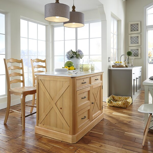 Dacian Country Kitchen Island Marble Set by Rosalind Wheeler