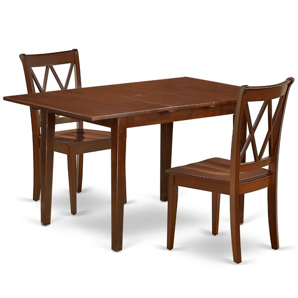 Kucera 3 Piece Extendable Solid Wood Dining Set by August Grove