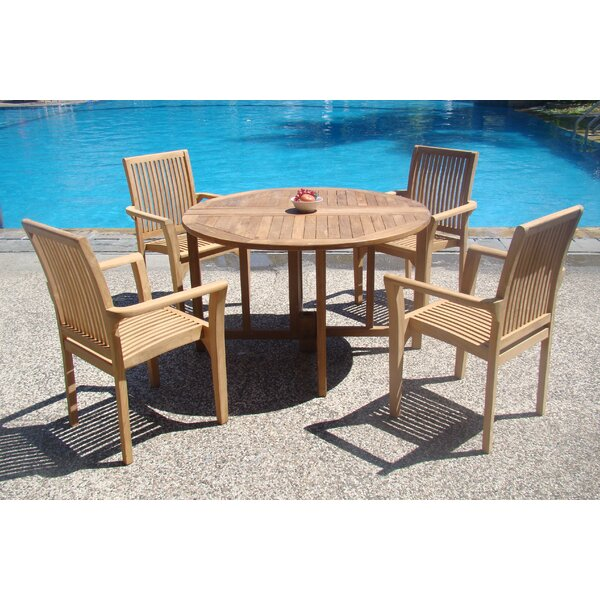 Massie 5 Piece Teak Dining Set by Rosecliff Heights