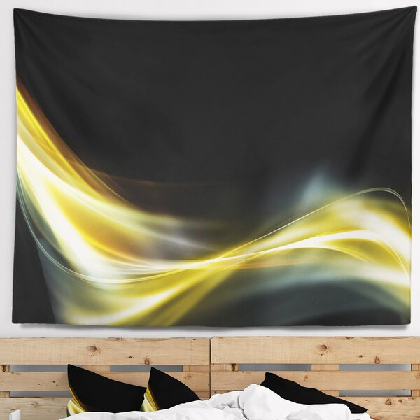 Abstract Gold in Black Upward Lines Tapestry and Wall Hanging by East Urban Home