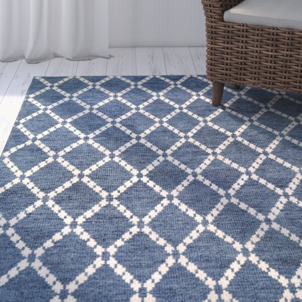 Oceane Hand-Woven Sapphire/Ivory Area Rug by Breakwater Bay