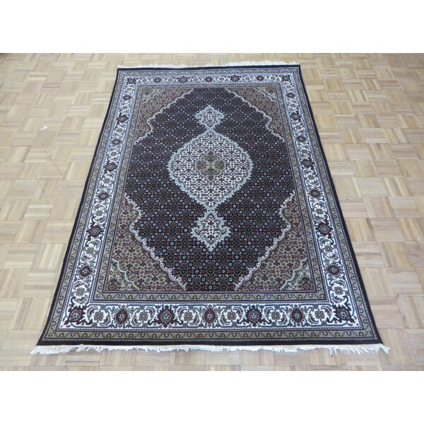 One-of-a-Kind Raiden Persian Tabriz Hand-Knotted Black Area Rug by Astoria Grand