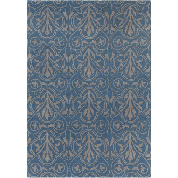 Dollins Hand Tufted Rectangle Contemporary Blue/Gray Area Rug by House of Hampton