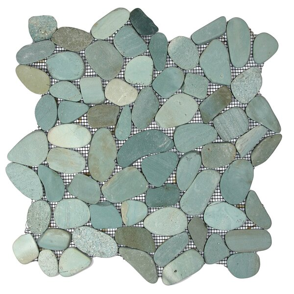 Danube Random Sized Natural Stone Mosaic Tile in Green by CNK Tile