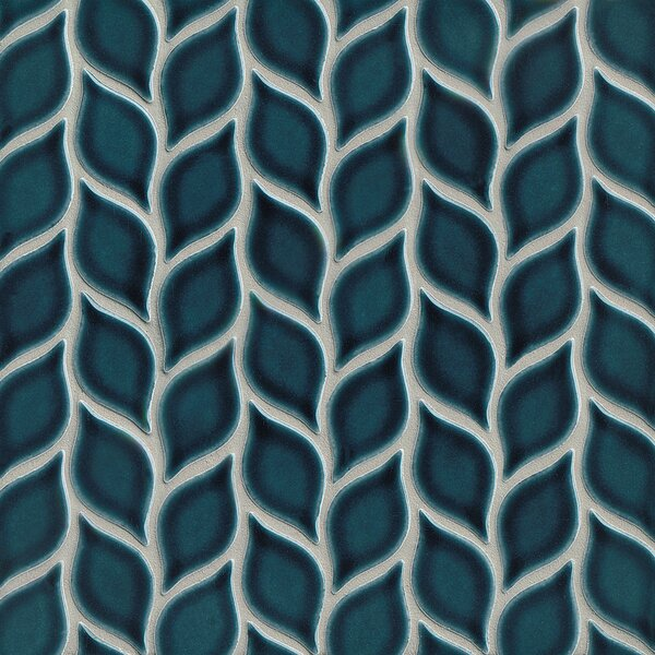 Park Place Foliole Ceramic Mosaic Tile in Dark Blue by Grayson Martin