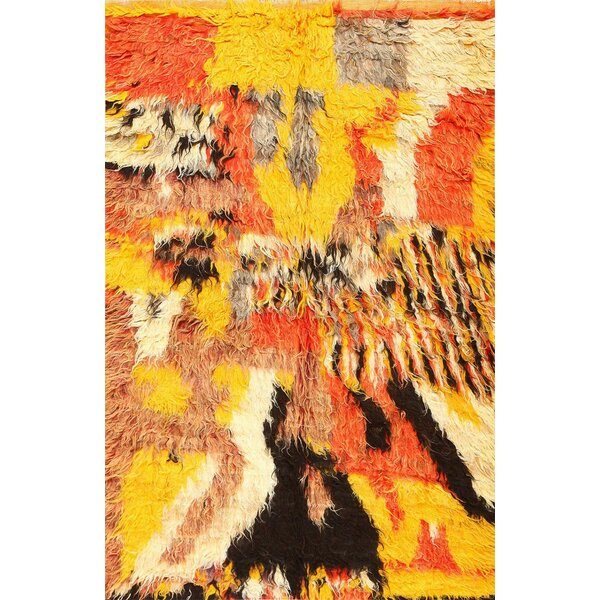 One-of-a-Kind Moroccan Hand-Knotted 1900s Yellow 5'5 x 8' Wool Area Rug