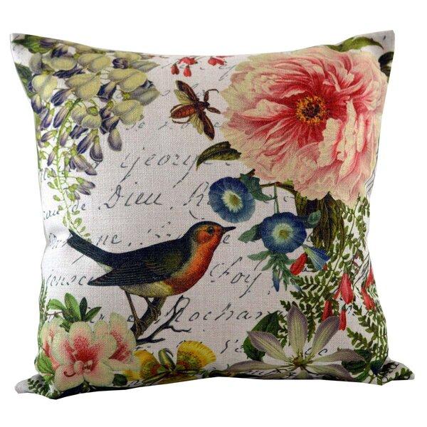 Bird Floral Throw Pillow Cover by Golden Hill Studio