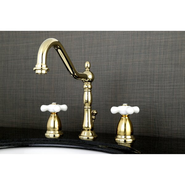Heritage Widespread Bathroom Faucet With Brass Pop-Up Drain By Kingston Brass