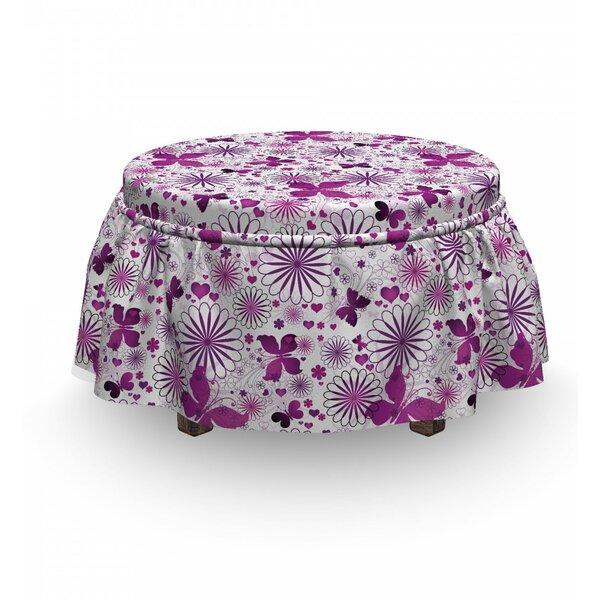 Butterfly Fauna 2 Piece Box Cushion Ottoman Slipcover Set By East Urban Home