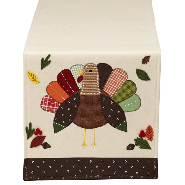 Thanksgiving Turkey Embellished Table Runner by Design Imports