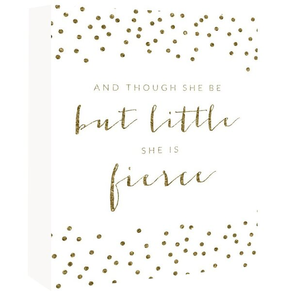 Fierce Sparkle Confetti Textual Art Poster in Gold/White by Americanflat