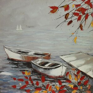 White Boats in Autumn Painting Print on Canvas by ESSENTIAL DÉCOR & BEYOND, INC