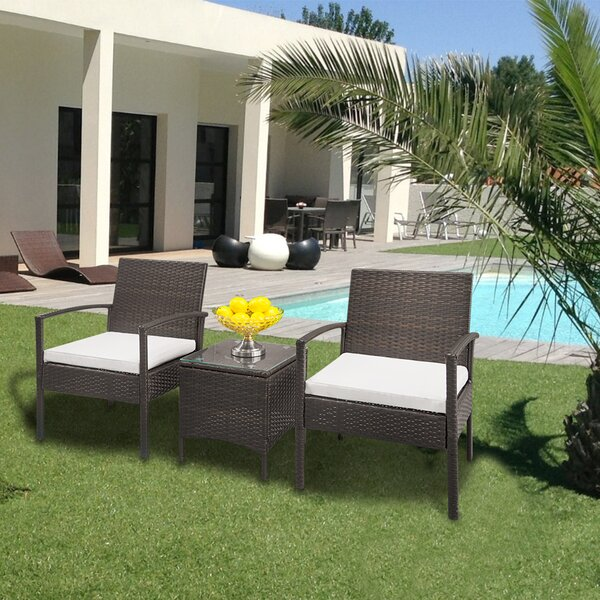 Wetumpka 3 Piece Rattan Deep Seating Group with Cushions by Ebern Designs