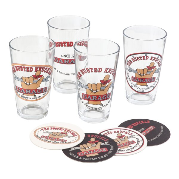 12 Piece 16 oz. Pint Glass Set by Busted Knuckle Garage