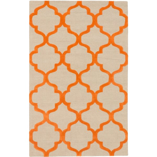 Hartland Casual Hand Tufted Orange Area Rug by Mercer41