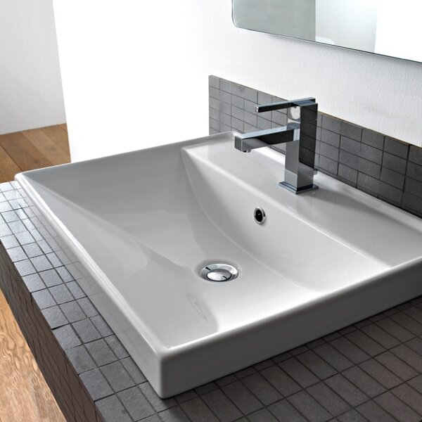 ML Ceramic Rectangular Drop-In Bathroom Sink with Overflow by Scarabeo by Nameeks