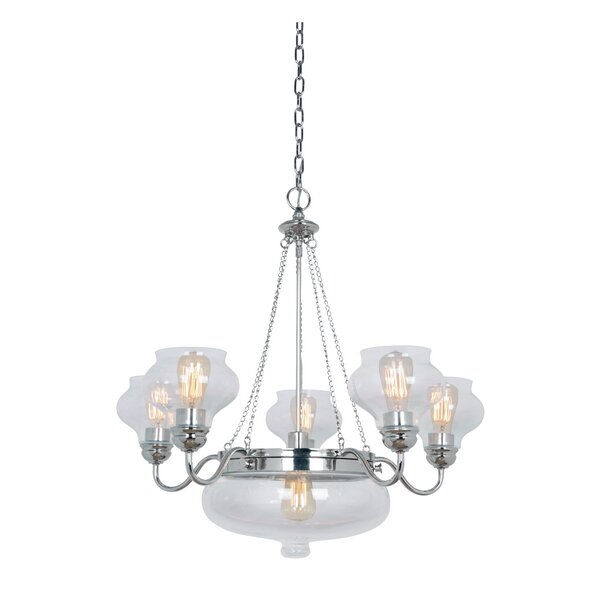 Piqua 6 - Light Shaded Wagon Wheel Chandelier By Three Posts