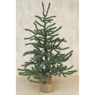 Green Pine Artificial Christmas Tree with Burlap Base - The Holiday Aisle 1.2' Silver Glitter Weeping Pine Artificial