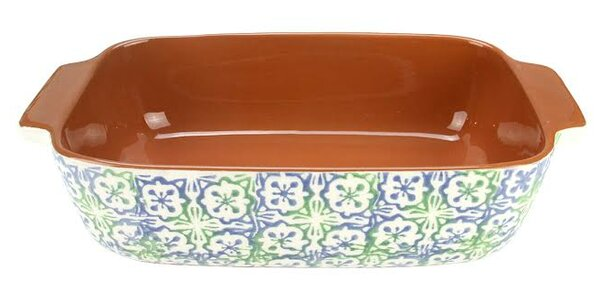 French Countryside Flower and Cross Rectangular Terracotta Oven Baking Dish by Northlight Seasonal