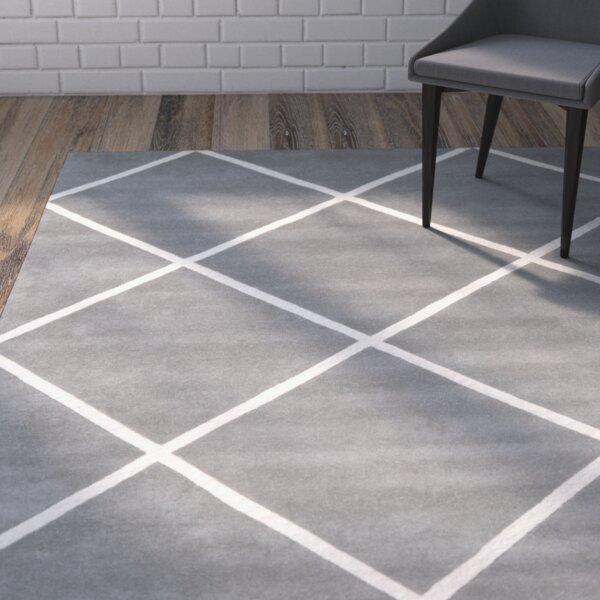 Wilkin Hand-Tufted Wool Dark Gray/Ivory Area Rug by Wrought Studio