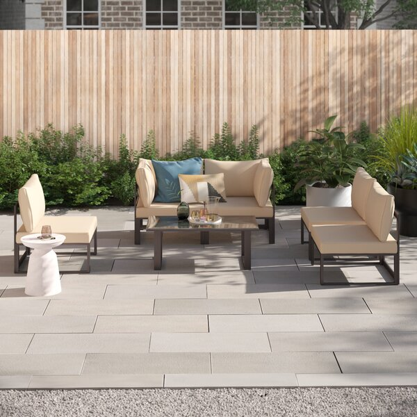 Annemarie Outdoor Patio 8 Piece Sectional Seating Group with Cushions by Foundstone