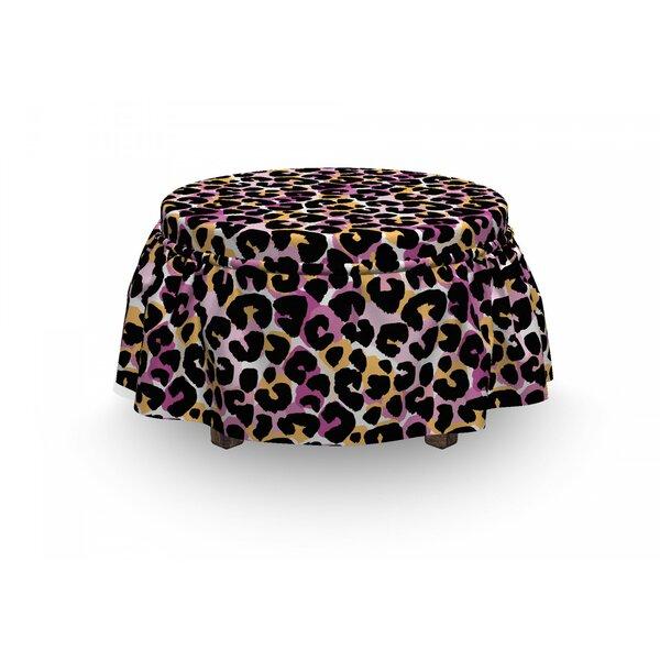 Leopard Print Wild Exotic Animal 2 Piece Box Cushion Ottoman Slipcover Set By East Urban Home