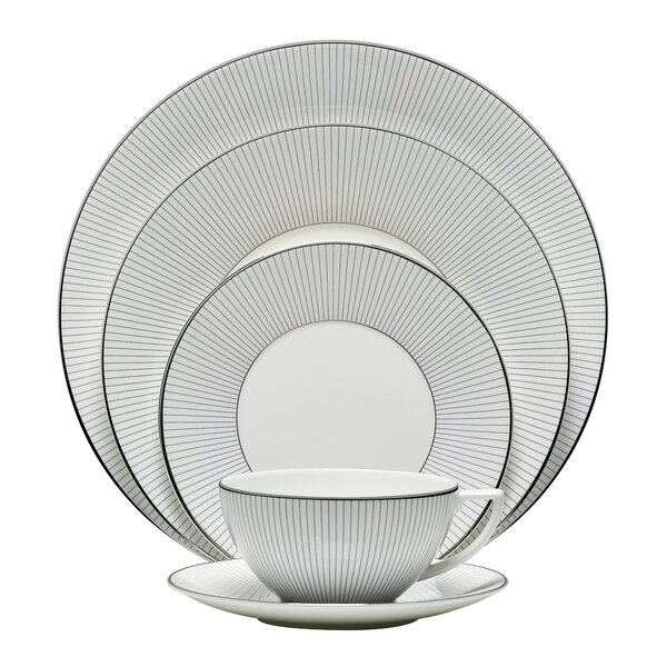 Blue Pinstripe 5 Piece Place Setting, Service for 1 by Jasper Conran by Wedgwood