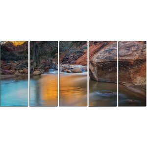 Slow Motion Virgin River at Zion 5 Piece Wall Art on Wrapped Canvas Set by Design Art
