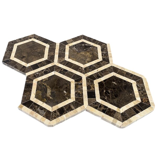Zeta Random Sized Marble Mosaic Tile in Crema Marfil/Dark Emperador by Splashback Tile